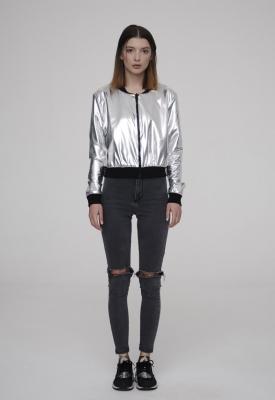 Бомбер Future, серебро с черным