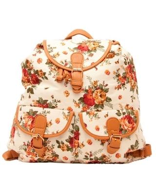 """Городской рюкзак-мешок """"Bouquet White"""""""