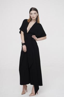 Платье с запахом Black Wave, черное