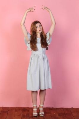 Платье Rosette с поясом, цвет серый
