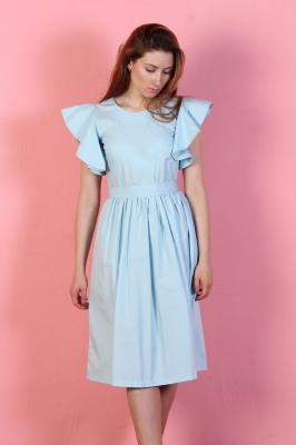 Платье Rosette с поясом, цвет голубой