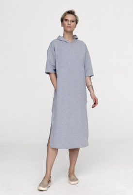 Платье с капюшоном Futur Outfit, серое
