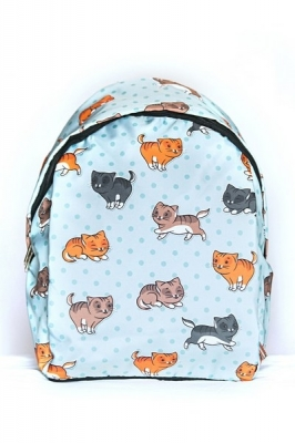 Рюкзак с котятами Pretty Kitty, голубой, бренд Hotsy Totsy