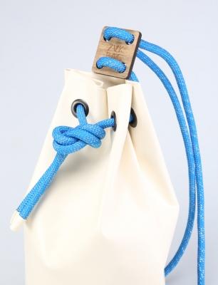 Рюкзак ZakBag, белый с голубыми завязками
