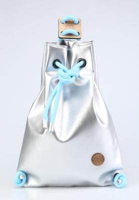 Рюкзак ZakBag, серебряный с голубыми завязками