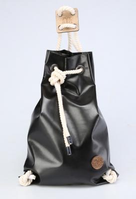 Рюкзак ZakBag, черный с белыми завязками
