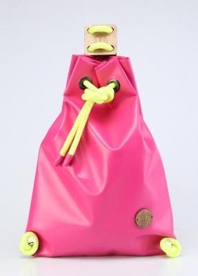 Рюкзак ZakBag, розовый с желтыми завязками
