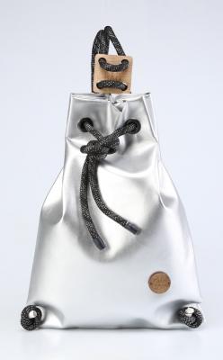 Рюкзак ZakBag, серебряный с черными завязками