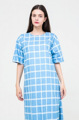 платье-футболка MarineChic голубое в клетку, бренд Futur Outfit