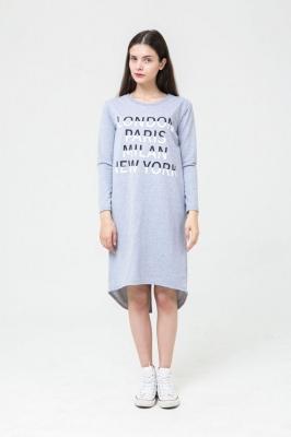 Платье Vogue серое с надписью на груди, бренд Futur Outfit