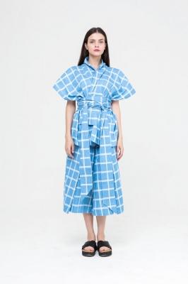 Кимоно MarineWild голубое в клетку, бренд Futur Outfit